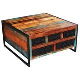 Couchtisch Holz Massiv mit Laden Faro, Multicolour - Multicolor/Schwarz, Basics, Holz/Metall (90/47/90cm)