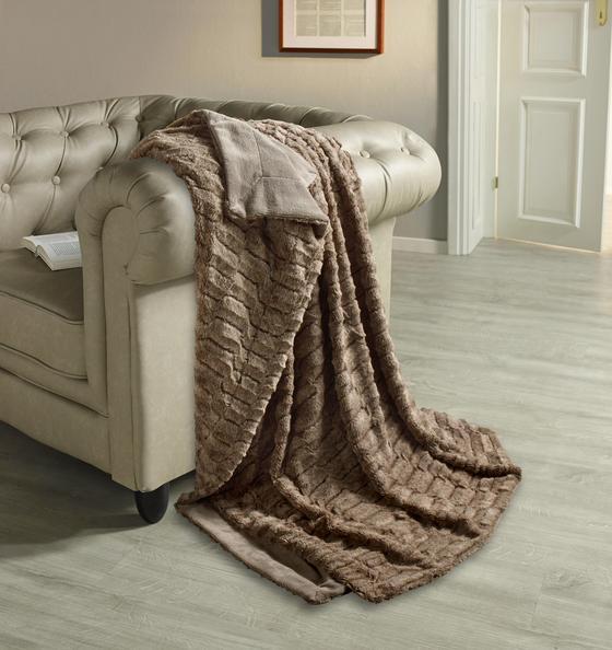 Wohndecke Lilly 150x200 cm - Taupe, ROMANTIK / LANDHAUS, Textil (150/200cm) - James Wood