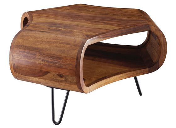 Couchtisch Holz mit Ablagefach Sheesham Massiv - Sheeshamfarben/Schwarz, Design, Holz/Metall (55/55/38cm) - Livetastic