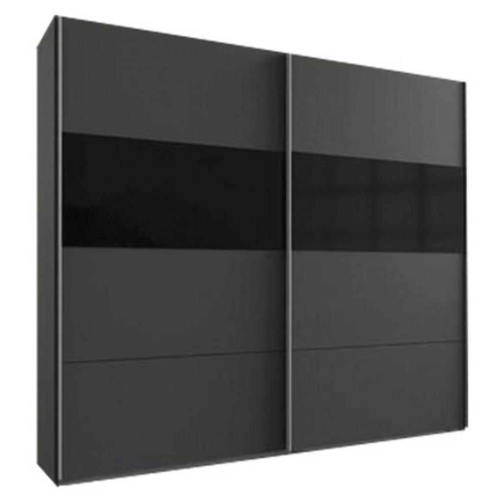 skříň s posuvnými dveřmi Bramfeld,grafit/sklo Černé