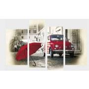 Bild Kiku - Rot/Grau, Holz/Textil (118/75/2cm)