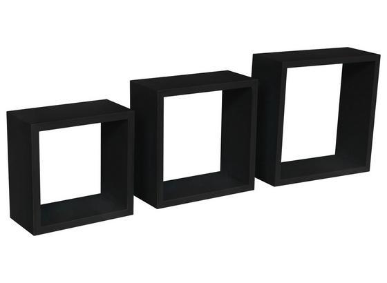 Nástenný Regál Simple 3 - čierna, Moderný, kompozitné drevo/plast (30/30/12cm)