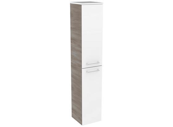 Hochschrank mit Türdämpfer Lima B: 30,5cm,weiß + Esche - Eschefarben/Weiß, MODERN, Glas/Holzwerkstoff (30,5/160,5/32cm) - MID.YOU