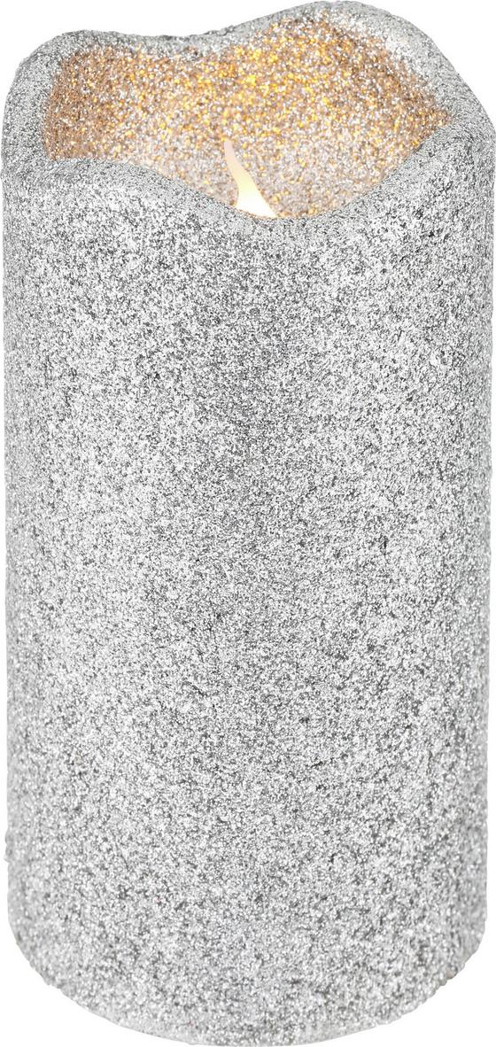 Svíčka S Led Marie - barvy stříbra (7/13cm)