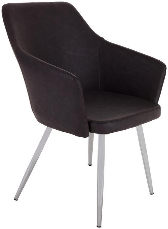Stuhl Sabrina Braun - Chromfarben/Braun, MODERN, Textil/Metall (51/86/55cm) - Ombra