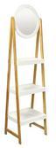 Regal mit Spiegel Scandi 43cm Weiß/bambus - Naturfarben/Weiß, MODERN, Glas/Holz (43/163/36cm) - Ombra