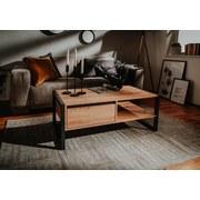 Couchtisch Holz Teilmassiv mit Lade + Fach Denver, Eiche - Eichefarben, KONVENTIONELL, Holzwerkstoff (100/40/55cm) - Livetastic