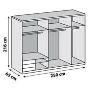 Schwebetürenschrank Level 36a 250cm Graphit/eiche - Eichefarben/Graphitfarben, MODERN, Holzwerkstoff (250/216/65cm)