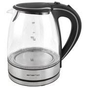Wasserkocher Emerio Wk-108084 - Alufarben/Schwarz, MODERN, Glas/Kunststoff (19,8/23/16,6cm)