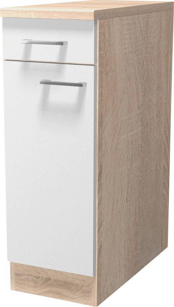 Kuchyňská Spodní Skříňka Samoa  Us 30 - bílá/barvy dubu, Konvenční, kompozitní dřevo (30/85/57cm)