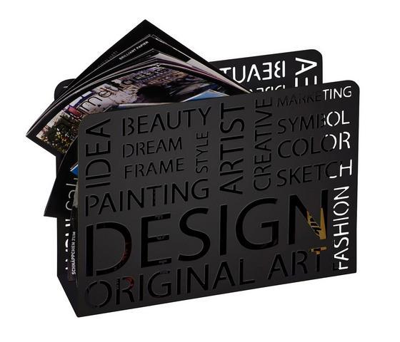 Stojan Na Noviny Design - čierna, Moderný, kov (35/10/28cm)