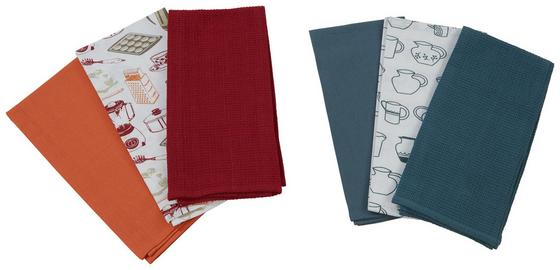 Geschirrtuch Inka - 3er Pack - Orange/Grau, KONVENTIONELL, Textil (50/70cm) - Ombra