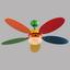 Deckenventilator Boni - Multicolor, Basics, Glas/Holz (106,6/37cm)