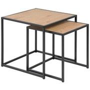 Beistelltisch 2er-Set Seaford Wildeiche Dekor + Schwarz - Eichefarben/Schwarz, Trend, Holzwerkstoff/Metall (50/45/50cm) - MID.YOU