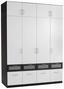 Aufsatzschrank Nagold Extra, 181cm - Weiß/Grau, KONVENTIONELL, Holzwerkstoff (181/39/54cm)