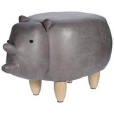 Tier Hocker Rhino - Naturfarben/Kieferfarben, Design, Holz/Textil (64/36/35cm)