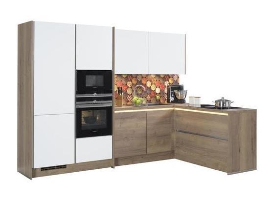 Rohová Kuchyňa Las Vegas/singapur - farby dubu/biela, Moderný, kompozitné drevo (307,2/186,6cm)