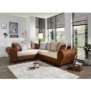 Wohnlandschaft in L-Form Living 245x270cm - Wengefarben/Beige, KONVENTIONELL, Holz/Textil (245/270cm)