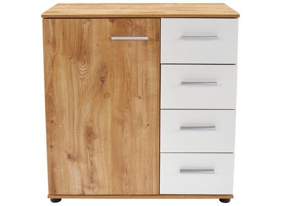 Komoda Katrin - bílá/barvy dubu, Konvenční, kompozitní dřevo (81/83/41cm)
