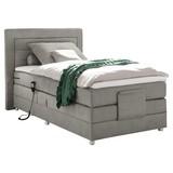 Boxspringbett mit Topper, verstellbar 120x200 Saba - Silberfarben/Hellgrau, Basics, Holzwerkstoff/Textil (120/200cm) - MID.YOU