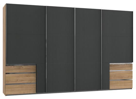 Schwebetürenschrank Level 36a B: 350cm Eiche - Eichefarben/Graphitfarben, Basics, Holzwerkstoff (350,00/216,00/65,00cm)