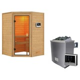 Sauna Bordeaux mit externer Steuerung - Naturfarben, MODERN, Holz (146/198/146cm) - Karibu