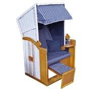 Strandkorb Ostsee Mattis Halblieger 1-Sitzer, Blau - Blau/Weiß, MODERN, Holz/Kunststoff (90/160/74cm) - Luca Bessoni