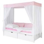 Himmelbett Lino 90x200 cm Weiß/ Rosa - Rosa/Weiß, MODERN, Holz (90/200cm) - MID.YOU