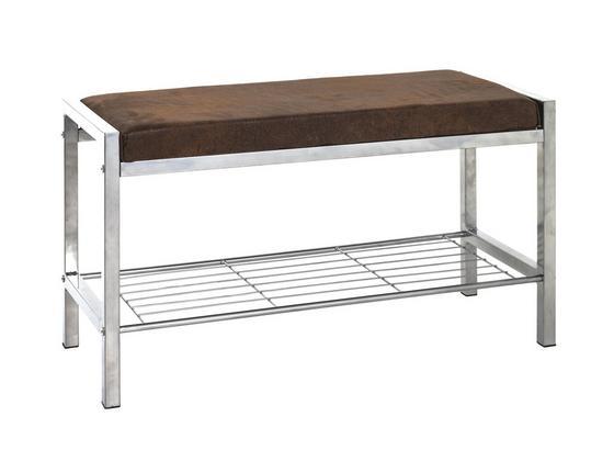 Garderobenbank Bench B/H/T: ca. 80/48/32cm - Edelstahlfarben/Braun, Basics, Textil/Metall (80/48/32cm)