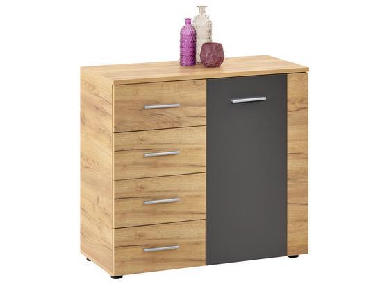 Komoda Uno Unk04 - farby dubu/sivá, Moderný, kompozitné drevo (88/80/40cm)