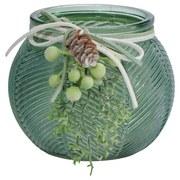 Teelichthalter Robin Klein - Grün, Basics, Glas/Textil (10/8cm)