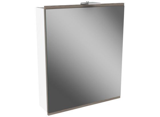 Spiegelschrank Lima B:60cm Weiß/esche Dekor - Weiß, MODERN, Glas/Holzwerkstoff (60/73/15,5cm) - Fackelmann