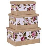 Aufbewahrungsbox Roses - Beige, Karton/Textil (36/23/20cm)