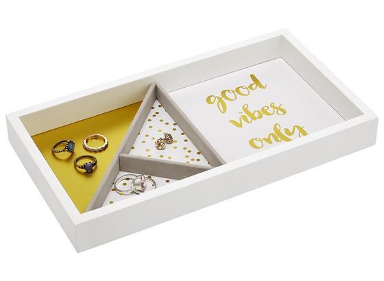 Krabička Na Šperky Kai - biela/zlatá, kompozitné drevo (29,1cm) - Mömax modern living