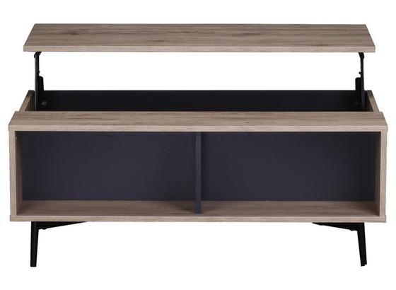 Couchtisch B: ca. 100 cm Naturfarben - Schwarz/Naturfarben, Basics, Holzwerkstoff/Metall (100/39/58cm)