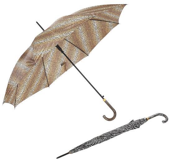 Regenschirm Chas - Goldfarben/Schwarz, KONVENTIONELL, Holz/Kunststoff (100cm) - Ombra