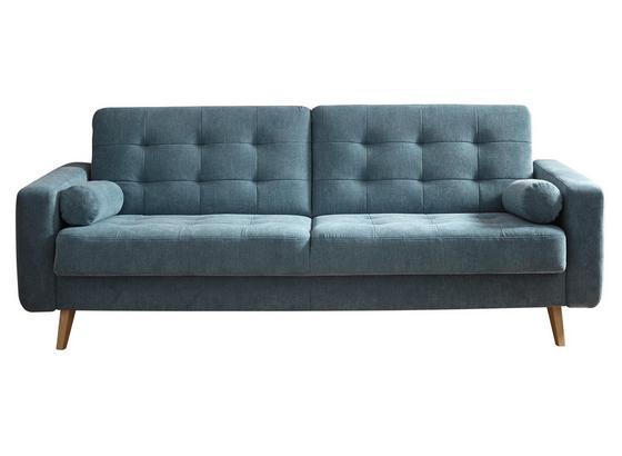 Schlafsofa Fjord B: ca. 222 cm Blau - Blau/Eichefarben, MODERN, Holzwerkstoff/Textil (222/86/90cm) - Carryhome
