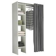 Kleiderschrank Jenkel Weiß/Grau - Weiß/Grau, Basics, Holzwerkstoff/Textil (120-157/195/50cm) - MID.YOU