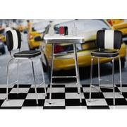 Barhocker Amerinca Diner B: 40cm Schwarz - Silberfarben/Schwarz, MODERN, Kunststoff/Metall (40/110/38cm) - Carryhome