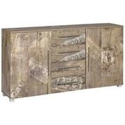 Kommode B 180,5cm Danu, Eiche Dekor - Eichefarben/Silberfarben, Basics, Holzwerkstoff (180,5/81,4/35cm) - Livetastic