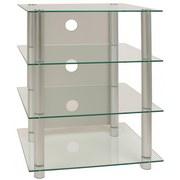 TV-Regal Blados B: 54 cm Silber, Glas - Silberfarben, KONVENTIONELL, Glas/Metall (54/70/45cm) - MID.YOU