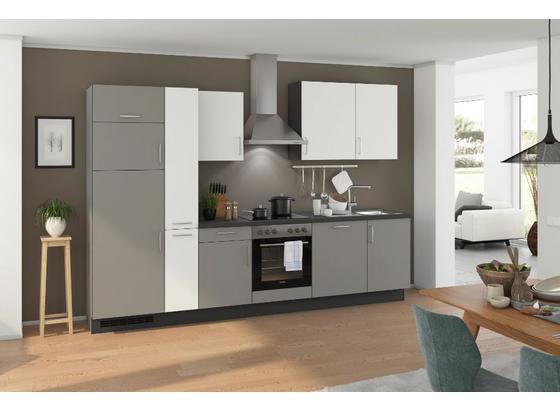 Küchenblock Turin 310 cm Arktisgrau/Weiß - Weiß/Grau, LIFESTYLE, Holzwerkstoff (310cm) - Qcina