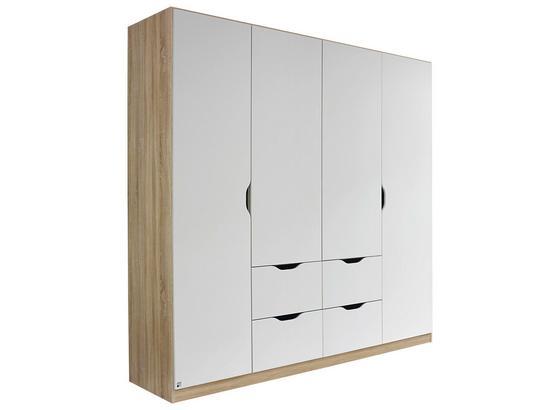 Skriňa Freising - biela/dub sonoma, Moderný, kompozitné drevo (181/197/54cm)