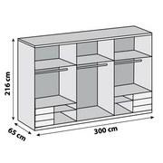 Schwebetürenschrank Level 36a 300cm Lava/eiche - Eichefarben/Dunkelgrau, MODERN, Holzwerkstoff (300/216/65cm)