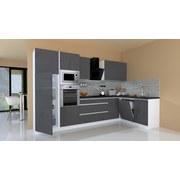 Küchenblock Premium B: 345 cm Grau Hgl - Weiß/Grau, MODERN, Holzwerkstoff (345/172cm) - MID.YOU