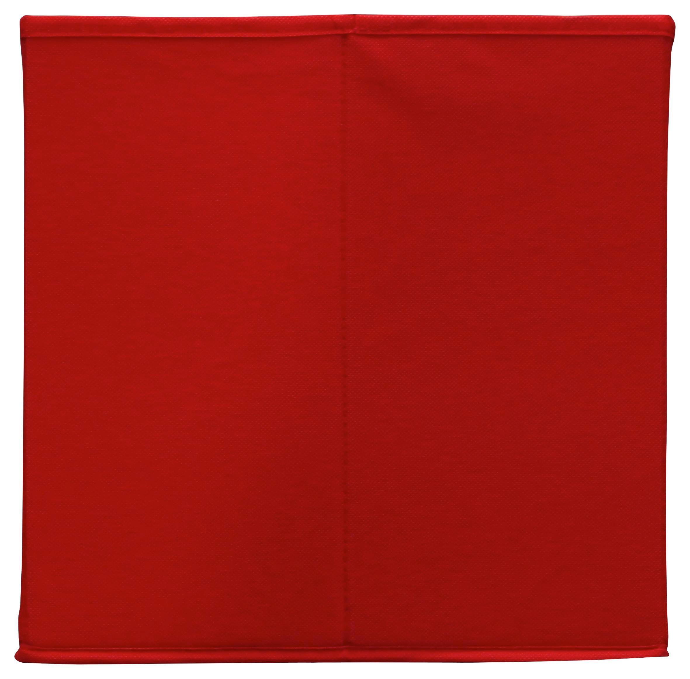 Összecsukható Doboz Cubi - piros, modern, karton/textil (32/32/32cm)