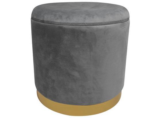 Hocker Velvet B: 35 cm Grau - Goldfarben/Grau, MODERN, Holzwerkstoff/Textil (35/35/35cm)