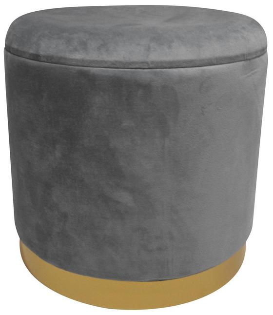 Hocker Velvet - Goldfarben/Grau, MODERN, Holzwerkstoff/Textil (35/35/35cm)