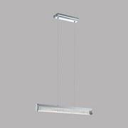 Led Hängeleuchte Trevelo H: 110 cm, Klarglas - Chromfarben/Weiß, MODERN, Glas/Metall (76,5/7/110cm)