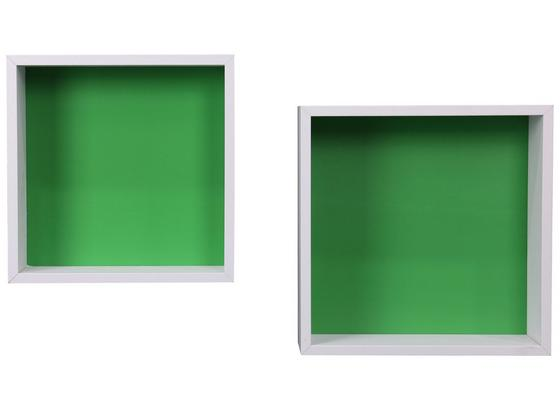 Regál Nástěnný Sally B422039-11 - bílá/zelená, Moderní, kompozitní dřevo (30/30/12cm)